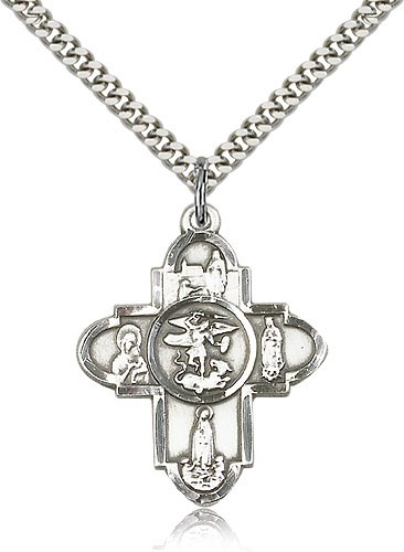 St. Michael and Our Lady 5-Way Pendant - Sterling Silver