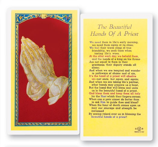Beautiful Hands of A Priest Laminated Prayer Cards 25 Pack - Full Color