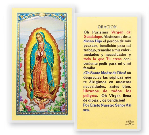Purisima Virgen De Guadalupe Laminated Spanish Prayer Cards 25 Pack - Full Color