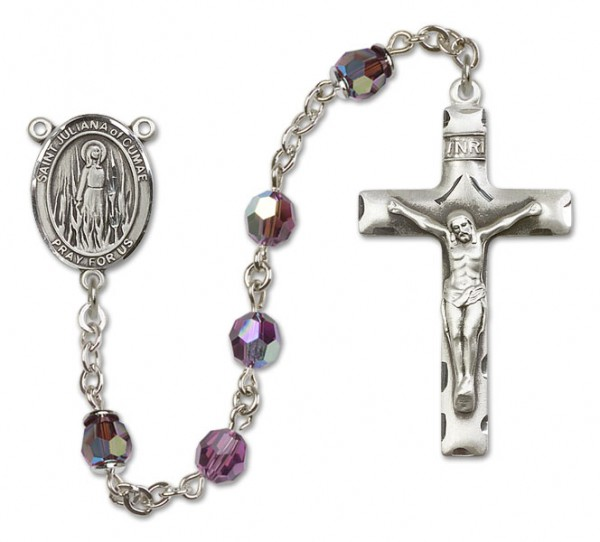 St. Juliana Sterling Silver Heirloom Rosary Squared Crucifix - Amethyst