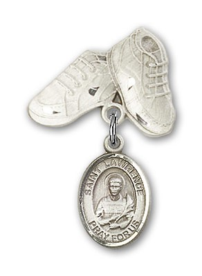 Pin Badge with St. Lawrence Charm and Baby Boots Pin - Silver tone