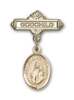 Baby Badge with Our Lady of Consolation Charm and Godchild Badge Pin - 14K Yellow Gold