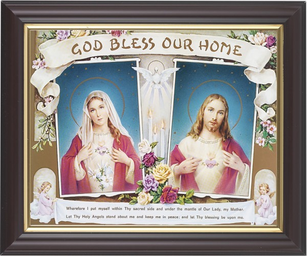 God Bless Our Home Sacred Heart and Immaculate Heart Framed Print - #133 Frame