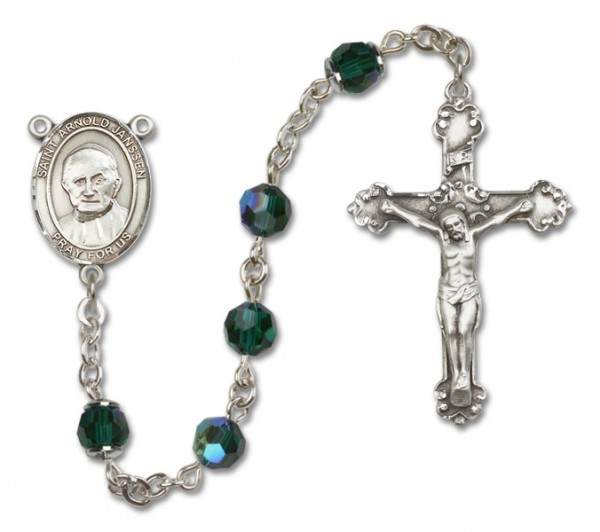 St. Arnold Janssen Sterling Silver Heirloom Rosary Fancy Crucifix - Emerald Green