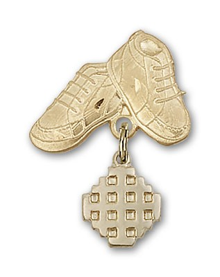 Baby Badge with Jerusalem Cross Charm and Baby Boots Pin - 14K Solid Gold