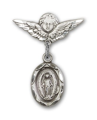 Baby Pin with Miraculous Charm and Angel with Smaller Wings Badge Pin - Silver tone