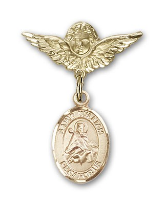 Pin Badge with St. William of Rochester Charm and Angel with Smaller Wings Badge Pin - 14K Solid Gold