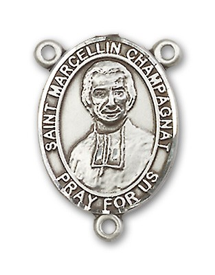 St. Marcellin Champagnat Rosary Centerpiece Sterling Silver or Pewter - Sterling Silver