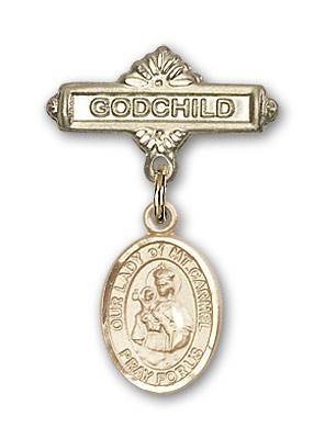 Baby Badge with Our Lady of Mount Carmel Charm and Godchild Badge Pin - Gold Tone