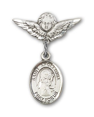 Pin Badge with St. Apollonia Charm and Angel with Smaller Wings Badge Pin - Silver tone