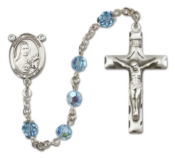 St. Therese of Lisieux Sterling Silver Heirloom Rosary Squared Crucifix - Aqua