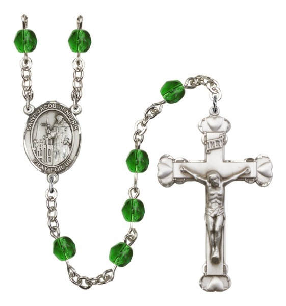 Women's St. Jacob of Nisibis Birthstone Rosary - Emerald Green