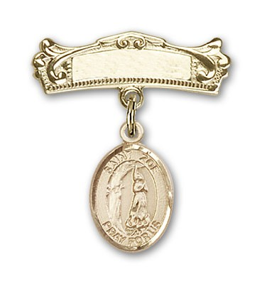 Pin Badge with St. Zoe of Rome Charm and Arched Polished Engravable Badge Pin - 14K Solid Gold