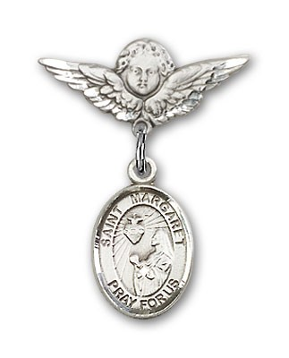 Pin Badge with St. Margaret Mary Alacoque Charm and Angel with Smaller Wings Badge Pin - Silver tone