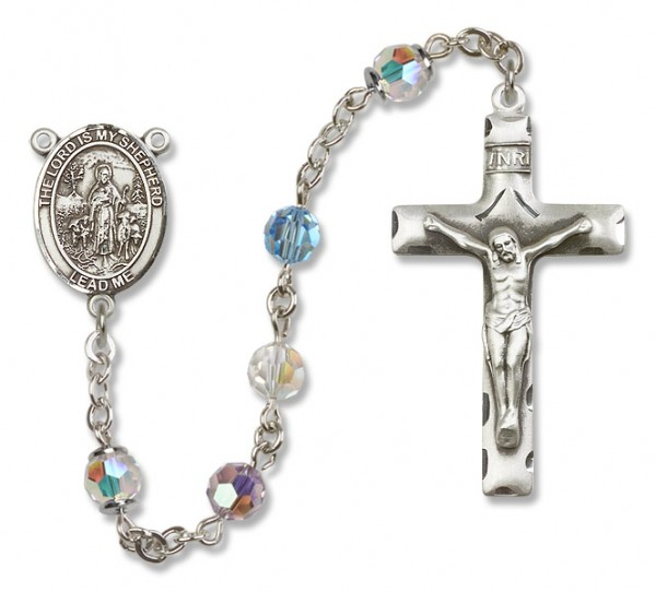 Lord Is My Shepherd Rosary Heirloom Squared Crucifix - Multi-Color