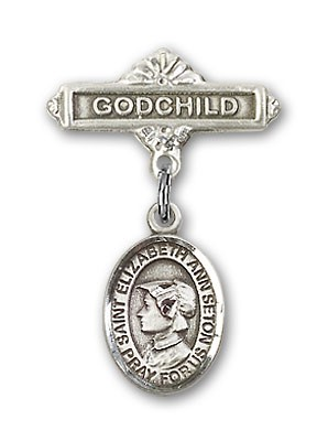 Pin Badge with St. Elizabeth Ann Seton Charm and Godchild Badge Pin - Silver tone