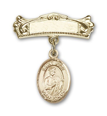 Pin Badge with St. Jude Thaddeus Charm and Arched Polished Engravable Badge Pin - 14K Solid Gold