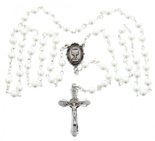 First Communion White Pearl Rosary with Chalice Centerpiece - White