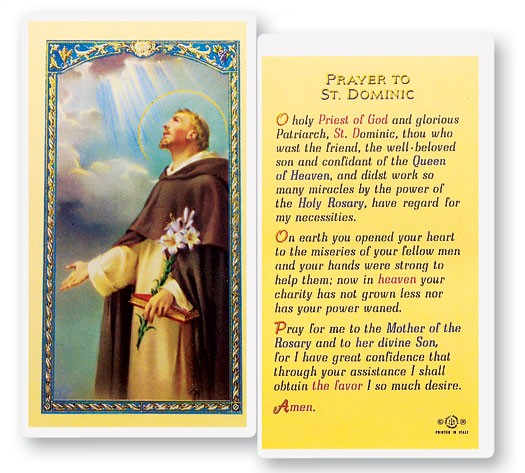 Prayer To St. Dominic Laminated Prayer Cards 25 Pack - Full Color