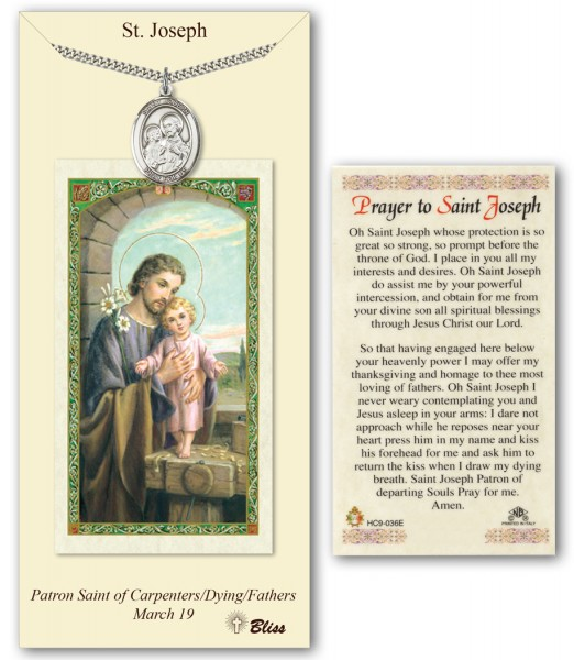 St. Joseph Medal in Pewter with Prayer Card - Silver tone