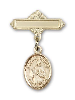 Pin Badge with St. Placidus Charm and Polished Engravable Badge Pin - Gold Tone