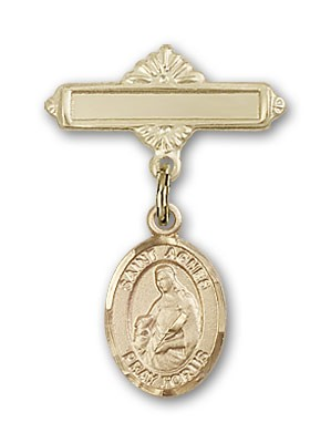 Pin Badge with St. Agnes of Rome Charm and Polished Engravable Badge Pin - Gold Tone