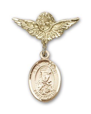 Pin Badge with St. Sarah Charm and Angel with Smaller Wings Badge Pin - Gold Tone
