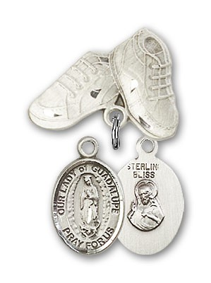 Baby Badge with Our Lady of Guadalupe Charm and Baby Boots Pin - Silver tone