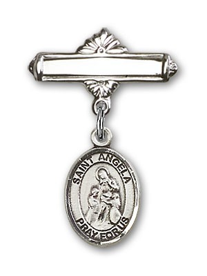 Pin Badge with St. Angela Merici Charm and Polished Engravable Badge Pin - Silver tone