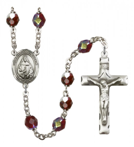 Men's St. Theodora Silver Plated Rosary - Garnet