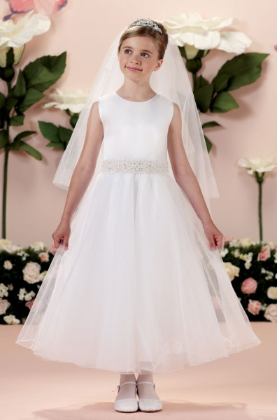 First Communion Dress with Hand-Beaded Waistband - White