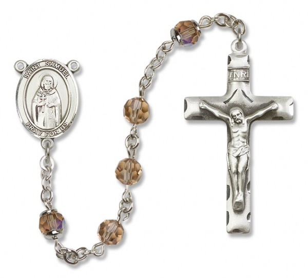 St. Samuel Sterling Silver Heirloom Rosary Squared Crucifix - Topaz
