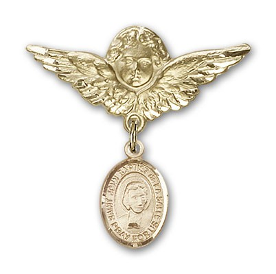 Pin Badge with St. John Baptist de la Salle Charm and Angel with Larger Wings Badge Pin - Gold Tone