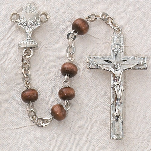 Boy's First Communion Rosary with Wood Beads - Brown