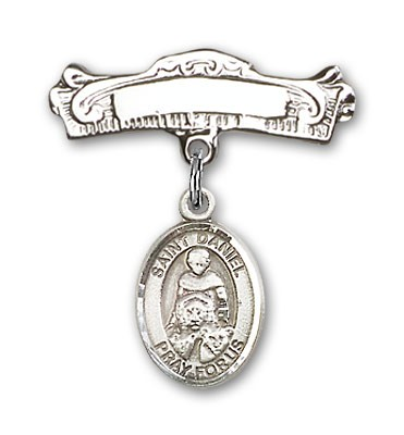 Pin Badge with St. Daniel Charm and Arched Polished Engravable Badge Pin - Silver tone
