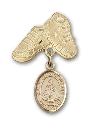 Baby Badge with Infant of Prague Charm and Baby Boots Pin - 14K Solid Gold