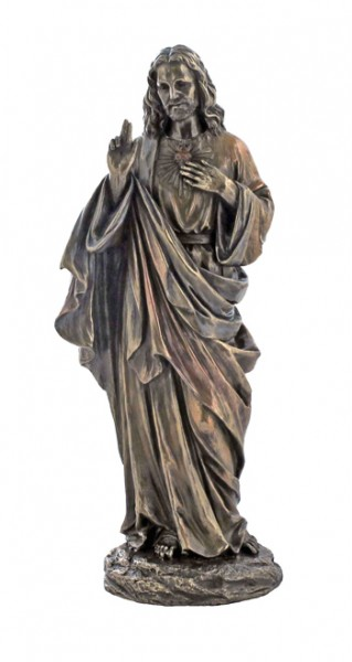 Sacred Heart of Jesus Bronzed Resin Statue - 12 Inches - Bronze