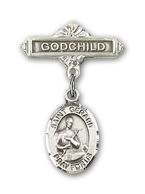 Pin Badge with St. Gerard Charm and Godchild Badge Pin - Silver tone