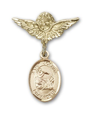 Pin Badge with St. Joshua Charm and Angel with Smaller Wings Badge Pin - 14K Yellow Gold