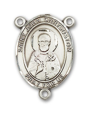 St. John Chrysostom Rosary Centerpiece Sterling Silver or Pewter - Sterling Silver