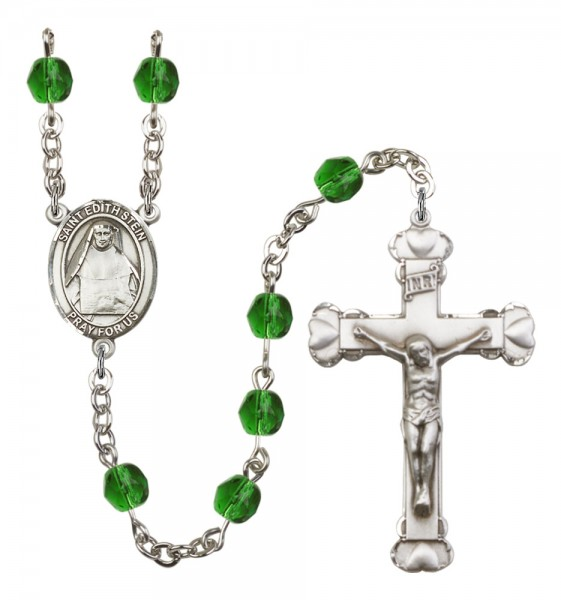 Women's St. Edith Stein Birthstone Rosary - Emerald Green