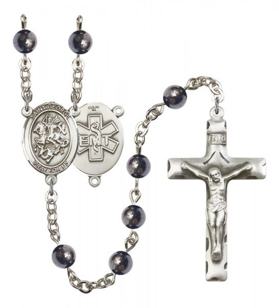 Men's St. George EMT Silver Plated Rosary - Gray
