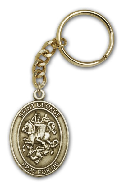 St. George Keychain - Antique Gold
