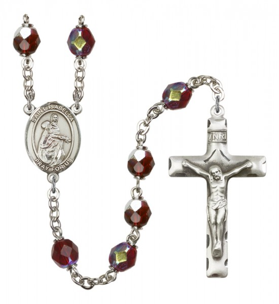 Men's St. Isabella of Portugal Silver Plated Rosary - Garnet