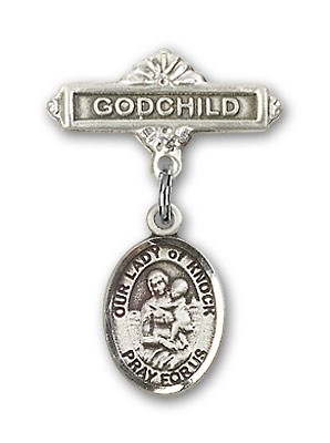 Baby Badge with Our Lady of Knock Charm and Godchild Badge Pin - Silver tone