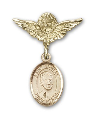 Pin Badge with St. Eugene de Mazenod Charm and Angel with Smaller Wings Badge Pin - Gold Tone