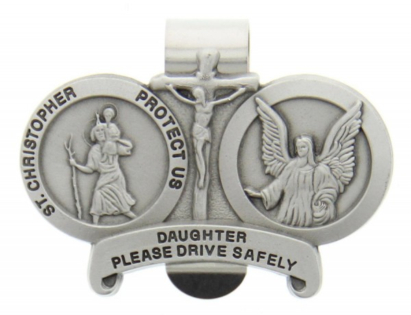 St. Christopher & Guardian Angel Protect My Daughter Visor Clip - Silver