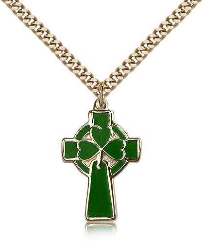 Green Enamel Celtic Cross Pendant - 14KT Gold Filled