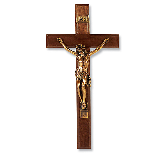 Gold-tone Corpus and Walnut Wall Crucifix - 13 inch - Brown
