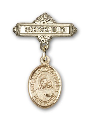 Baby Badge with Our Lady of Good Counsel Charm and Godchild Badge Pin - Gold Tone